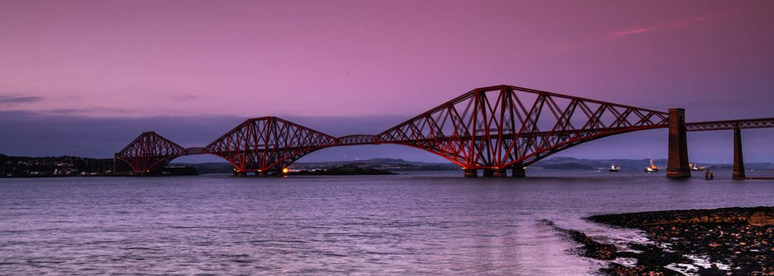 Forth bridge, red bridge on pink background